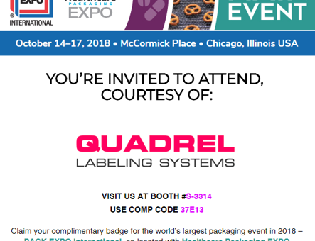 Visit us at Pack Expo International in Chicago, IL